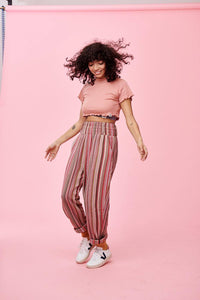 Lucy & Yak trousers 'Kia' Striped Jacquard Trousers in Pink