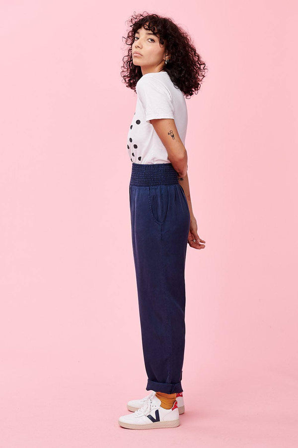 Lucy & Yak trousers Alexa Tencel Trousers In Navy Blue