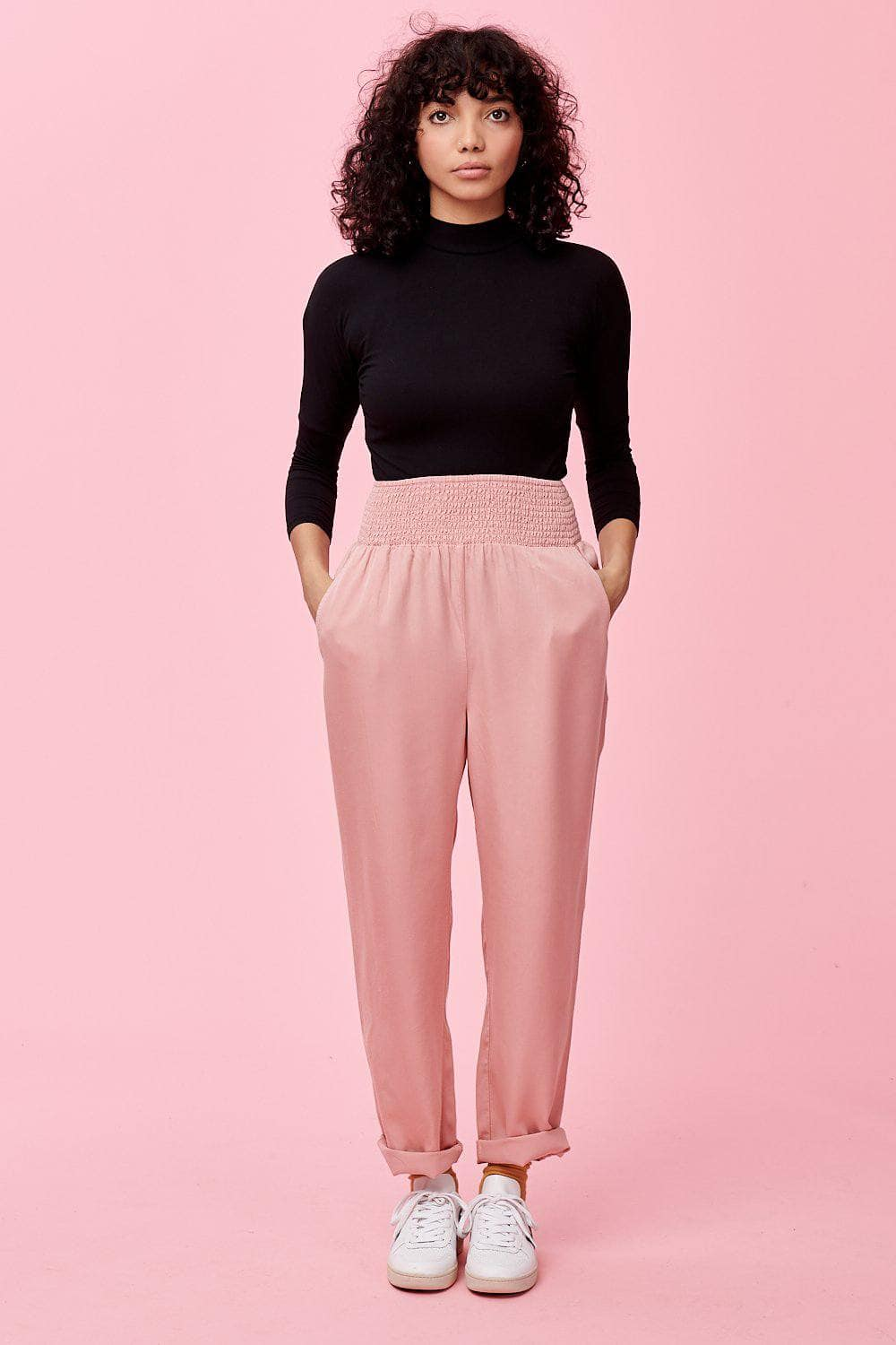 Lucy & Yak trousers Alexa 100% Tencel Trousers In Blush