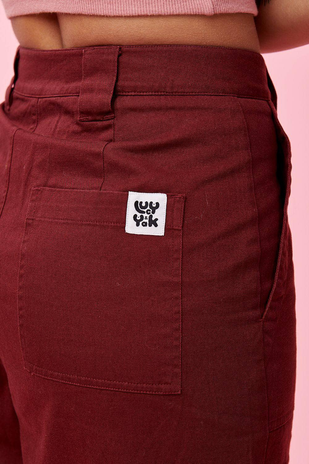 Lucy & Yak cotton trousers 'Jayden' 90s Oversized Cargo Pants in Burgundy