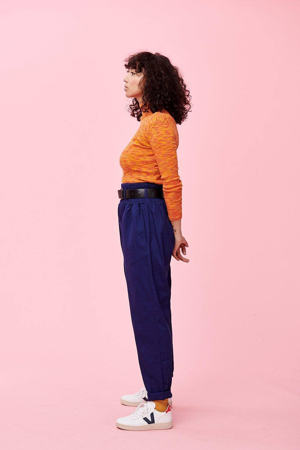 Lucy & Yak cotton trousers 'Alexa' Lightweight Organic Cotton Trousers In Ink Blue