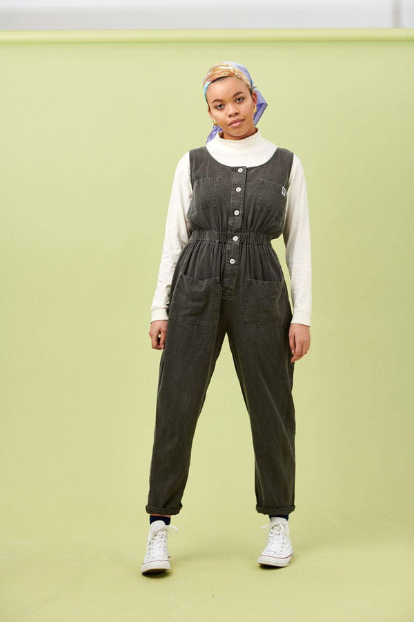 Lucy & Yak Boilersuit Juni Sleeveless Boilersuit in Washed Charcoal Grey