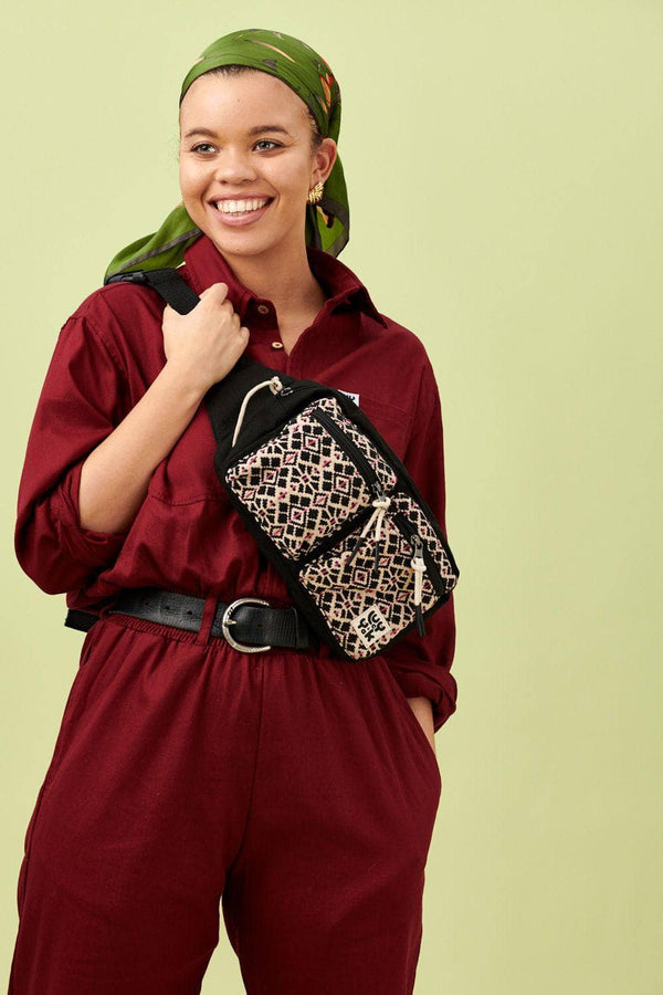 Lucy & Yak Bag Henley Giant Bumbag In Black With Jacquard Pockets