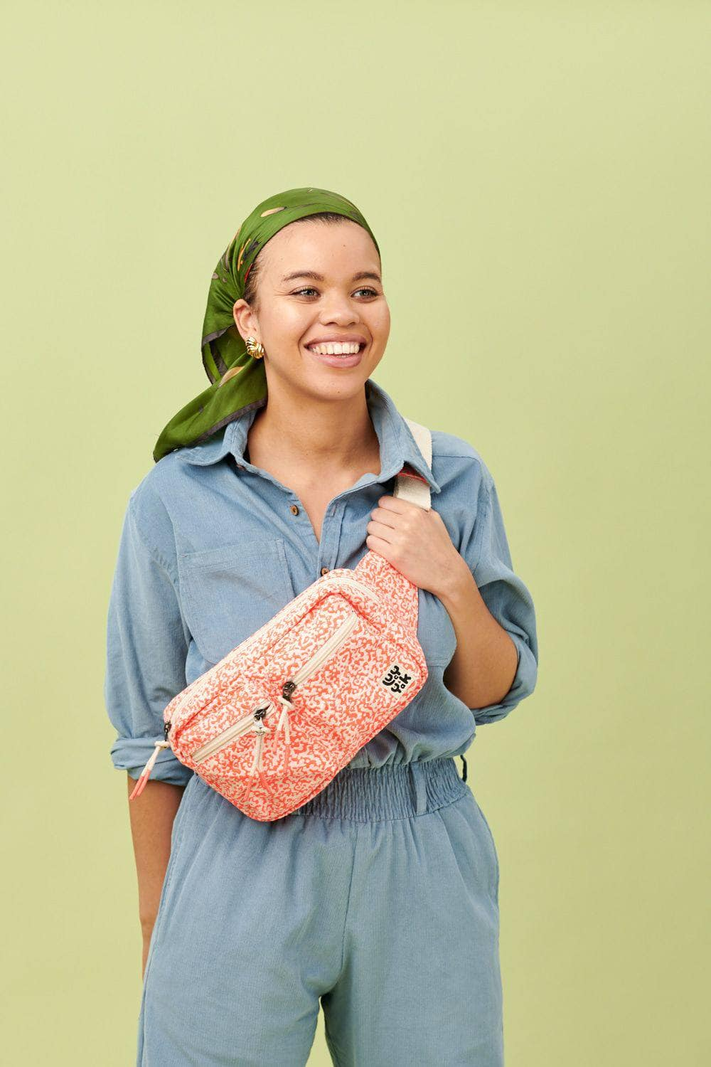 Lucy & Yak Bag Henley Giant Bumbag In Neon Coral Print