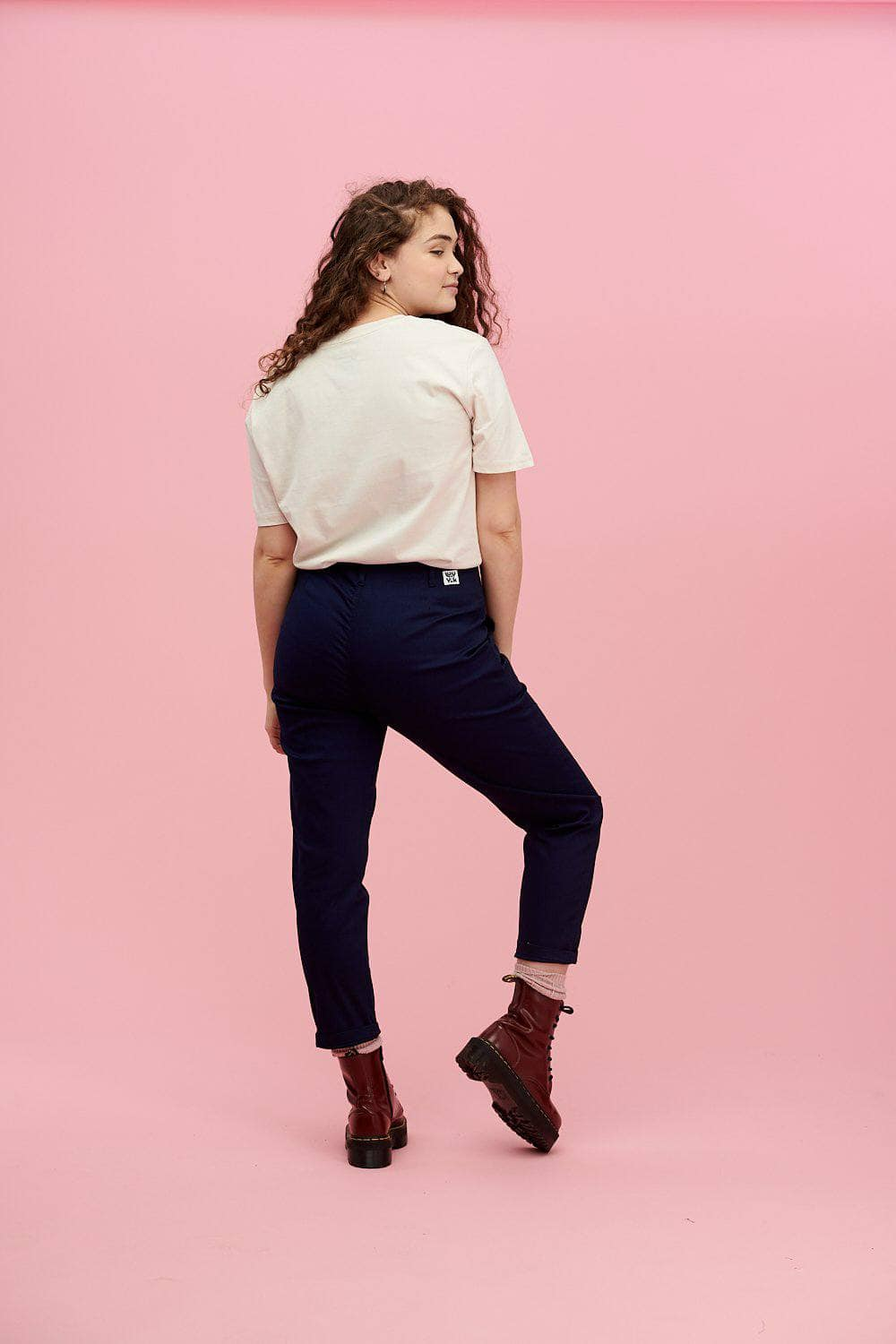 Lucy & Yak trousers 'Camden' High Waisted Trousers in Navy Blue