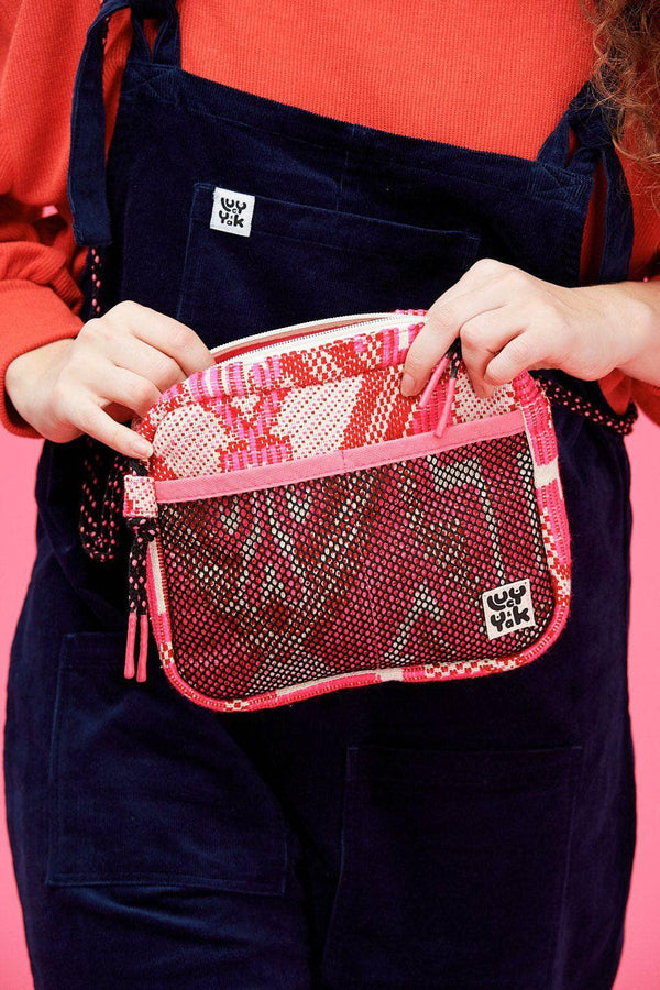 Lucy & Yak Bag Dara Cross Body Bag In Pink Jacquard