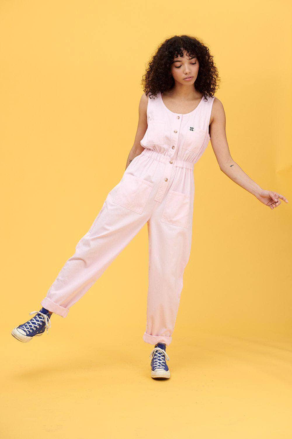 Lucy & Yak Boilersuit 'Juni' Linen/Cotton Sleeveless Boilersuit in Pink