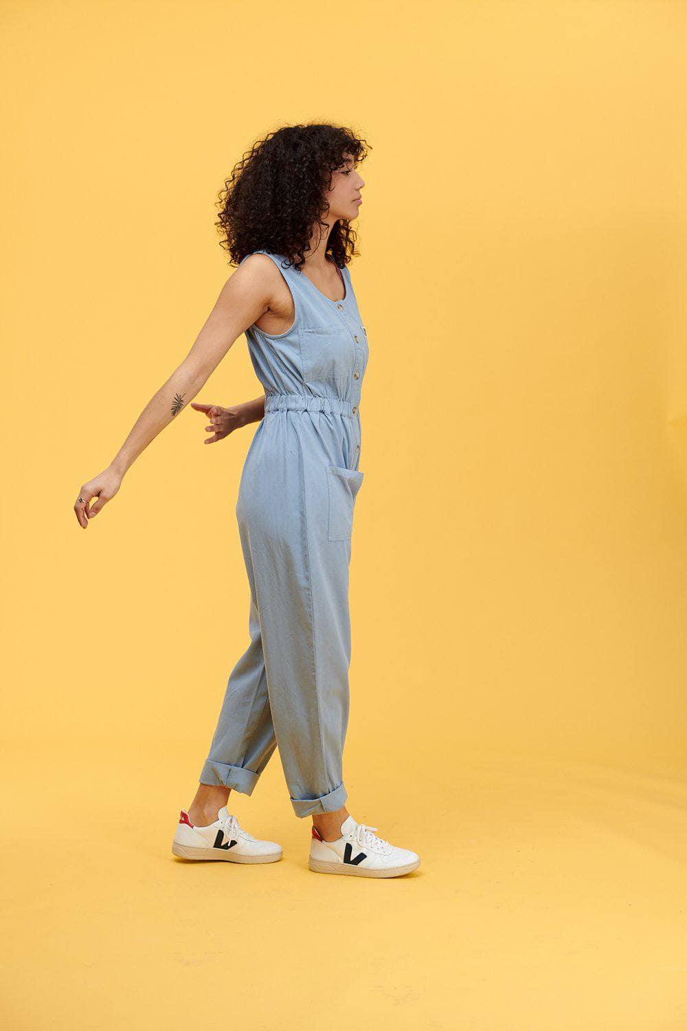 Lucy & Yak Boilersuit 'Juni' Organic Cotton Twill Jumpsuit in Baby Blue