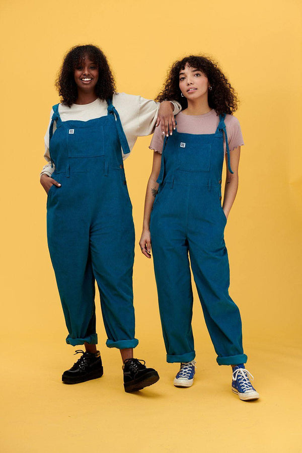 Lucy & Yak Dungarees Easton Organic Corduroy Dungarees in Petrol Blue