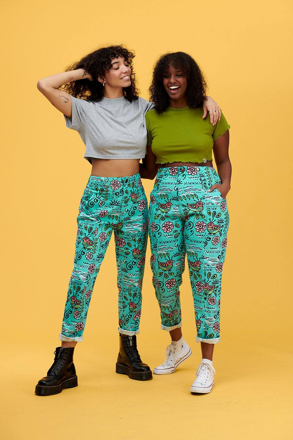 Lucy & Yak trousers 'Camden' High Waisted Trousers in Turquoise Bird Print