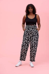 Lucy & Yak trousers Kia Trousers In Black & White Floral Print