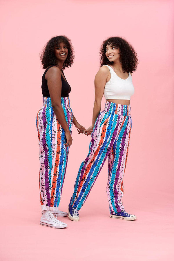 Lucy & Yak trousers Kia Trousers In 80's Multi Stripe Print
