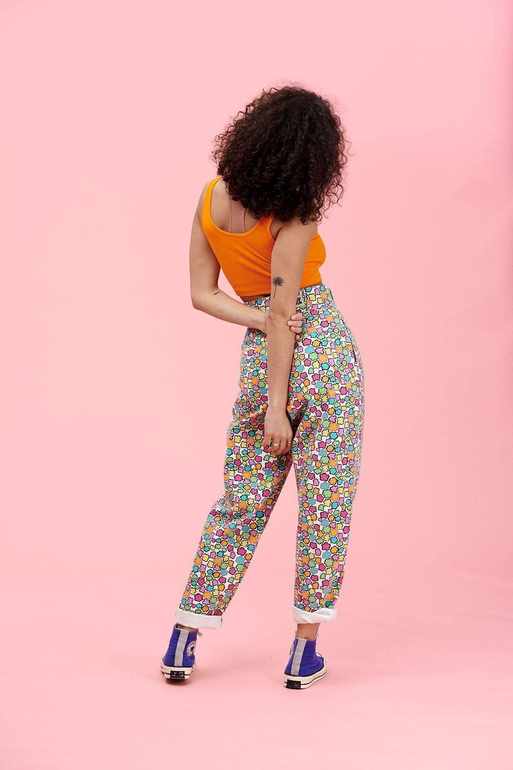 Lucy & Yak jeans 'Addison' High Waisted Organic Cotton Twill Jeans in Flower Print