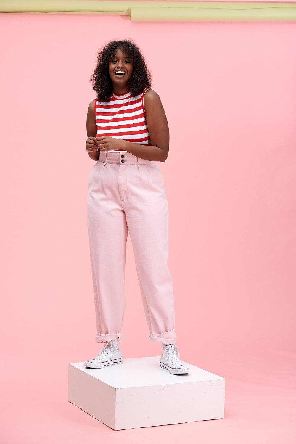 Lucy & Yak jeans 'Addison' High Waisted Organic Cotton Twill Jeans in Pink