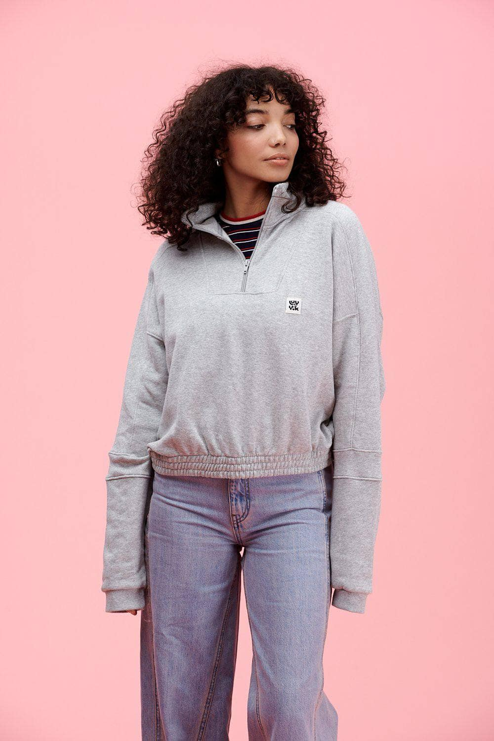 Lucy & Yak Tops 'Marley' Cropped Half Zip Sweater in Grey Marl
