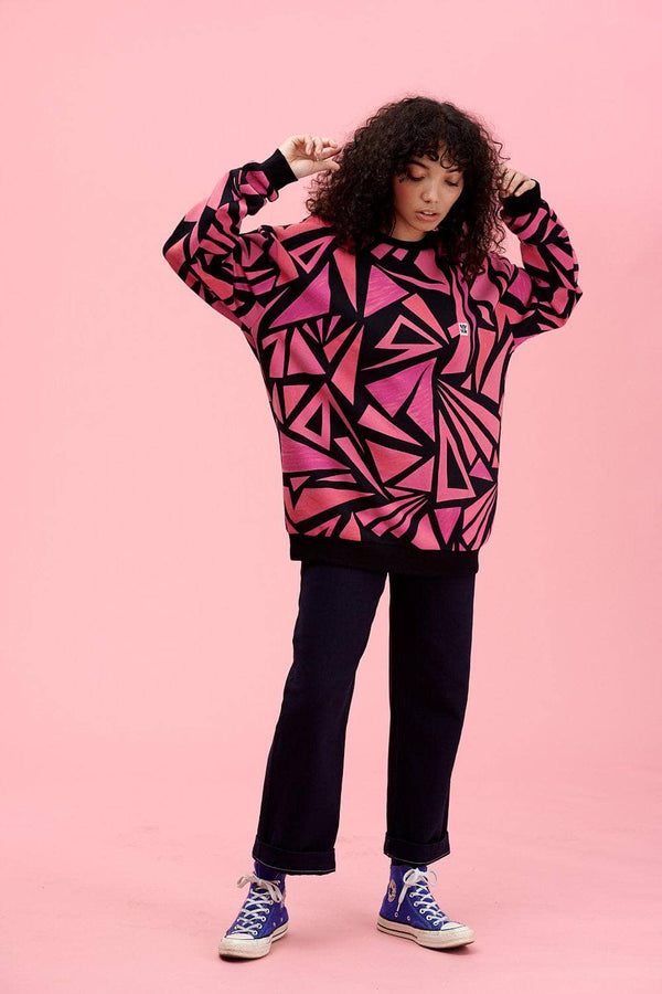 Lucy & Yak Tops Sonny Sweater In Pink & Black Triangle Print