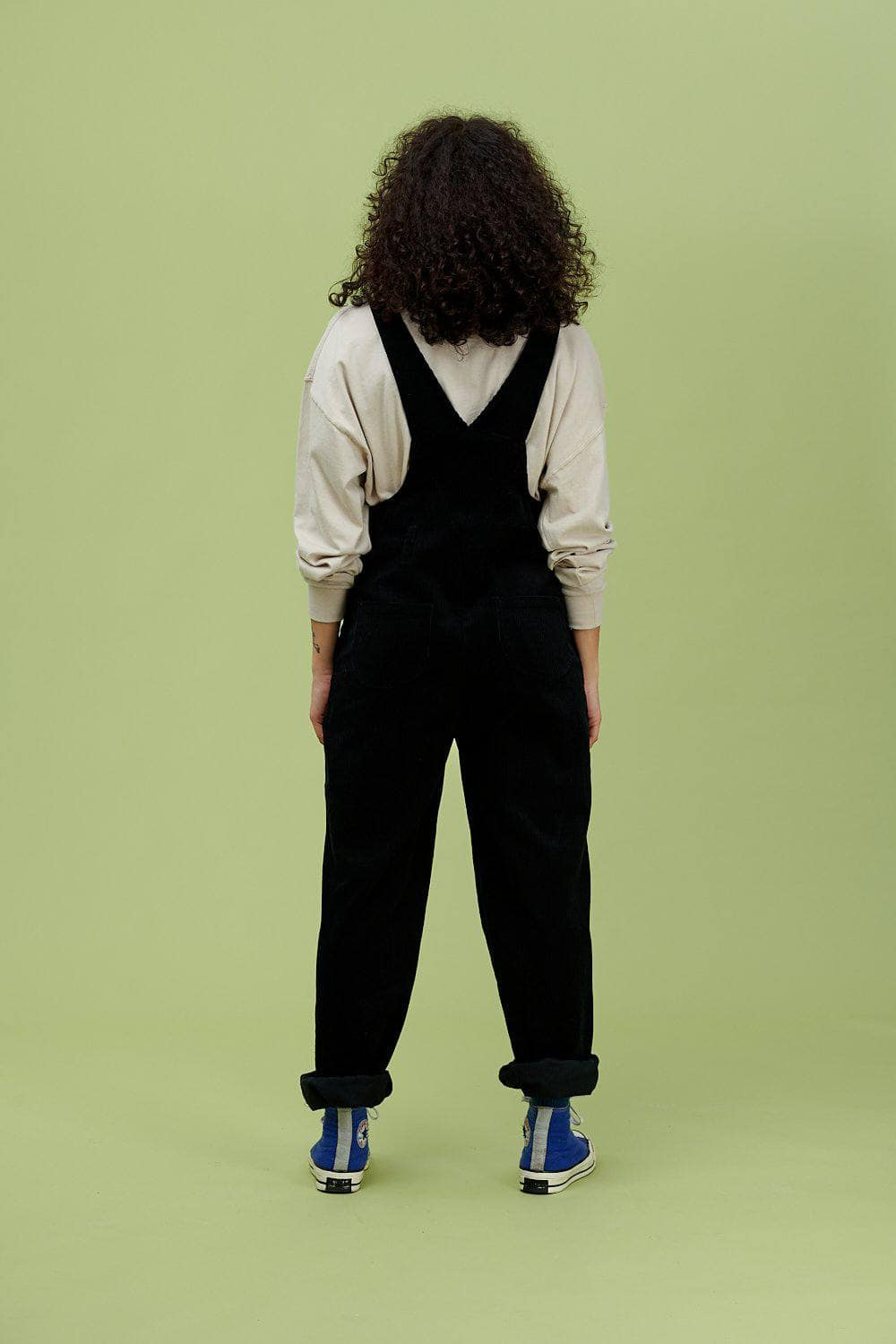 Lucy & Yak Corduroy Dungarees 'Easton' Organic Corduroy Dungarees in Midnight Black