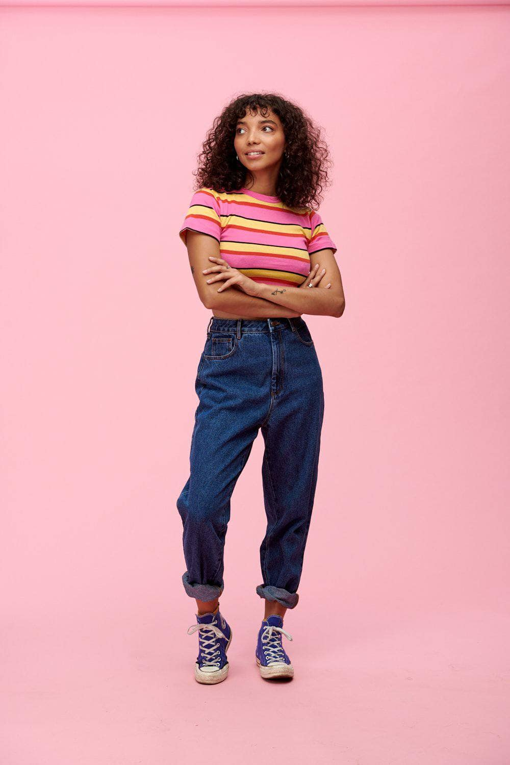 Lucy & Yak Tops Ava Short Sleeved Stripy Top In Pink & Yellow