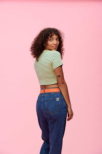 Lucy & Yak Tops Ava Short Sleeved Stripy Top In Yellow & Blue (Thin Strip)