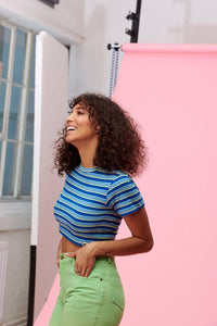 Lucy & Yak Tops Ava Short Sleeved Stripy Top In Blue & Yellow (Thick Stripe)
