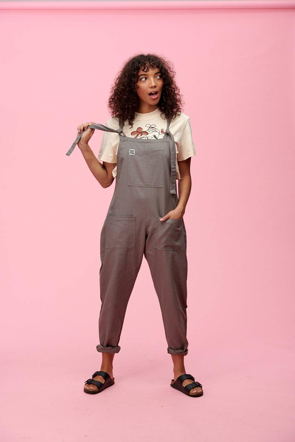 Lucy & Yak Cotton Dungarees Organic Umi Cotton Dungarees In Charcoal Grey