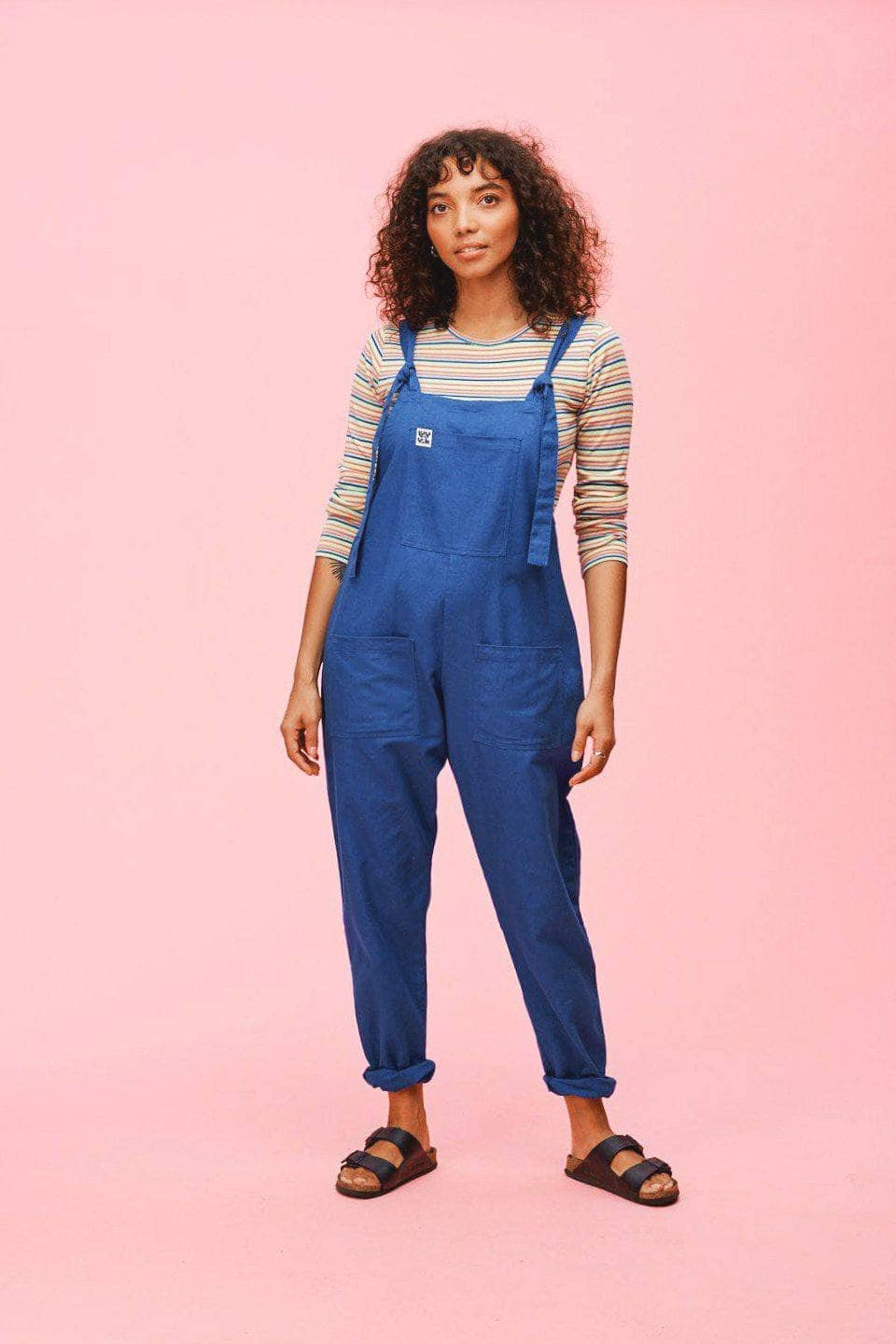 Lucy & Yak Cotton Dungarees 'Umi' Organic Cotton Dungarees in Classic Blue