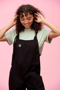 Lucy & Yak Cotton Dungarees Organic Umi Cotton Dungarees In Black - New Sizing