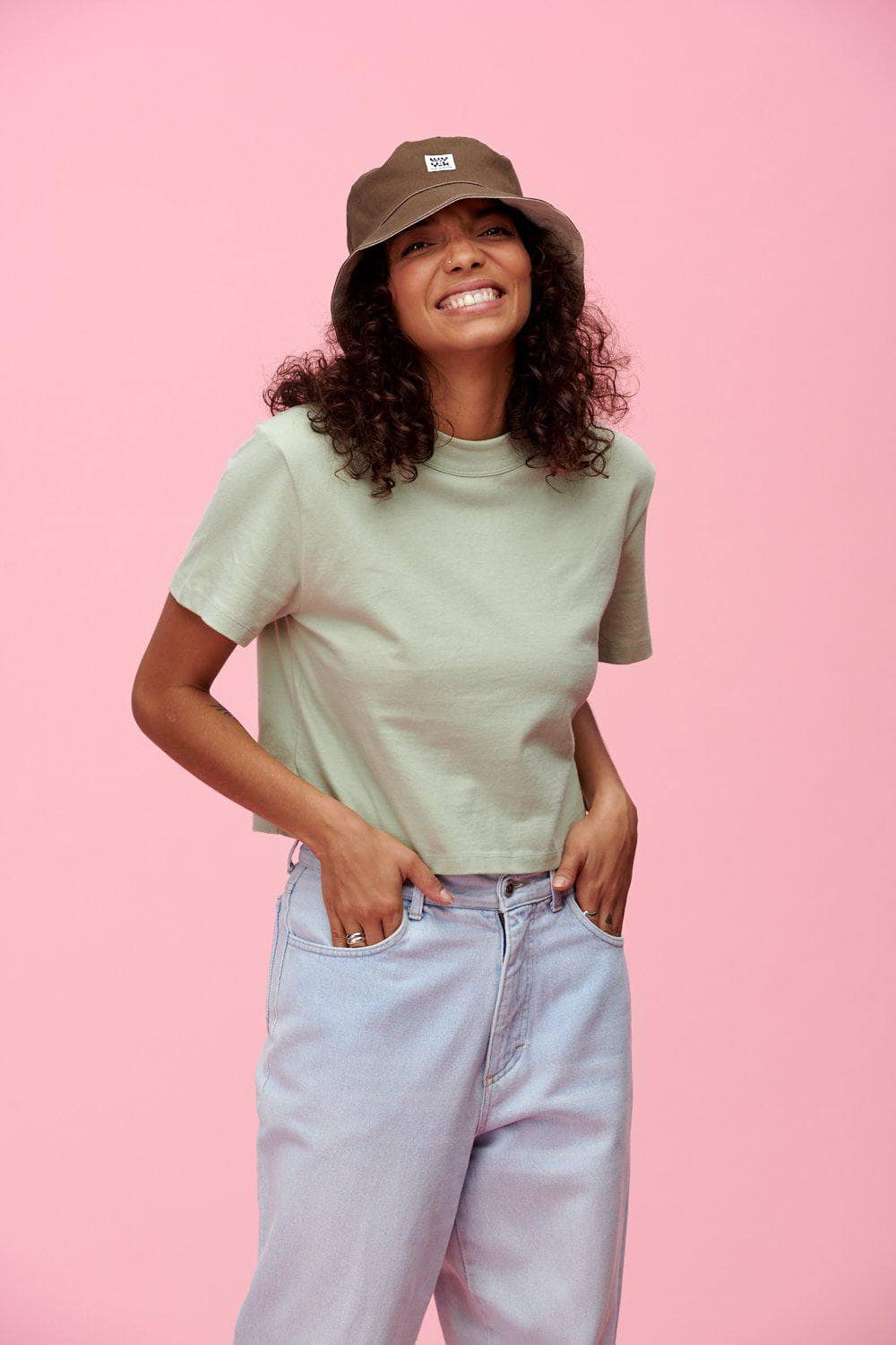 Lucy & Yak TOP Zola Boxy Cut Tee In Dessert Sage