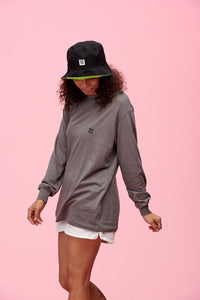 Lucy & Yak Tops 'Kenny'  Seacell Long Sleeved Skater Top In Charcoal Grey in