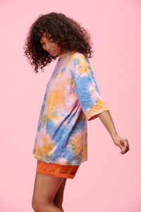 Lucy & Yak tops Tie Dye Tee In Blue, Pink & Coral