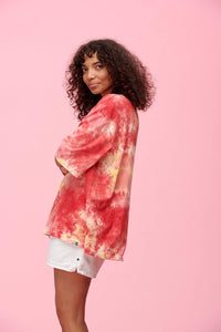 Lucy & Yak Tops Tie Dye Tee In Yellow & Pink