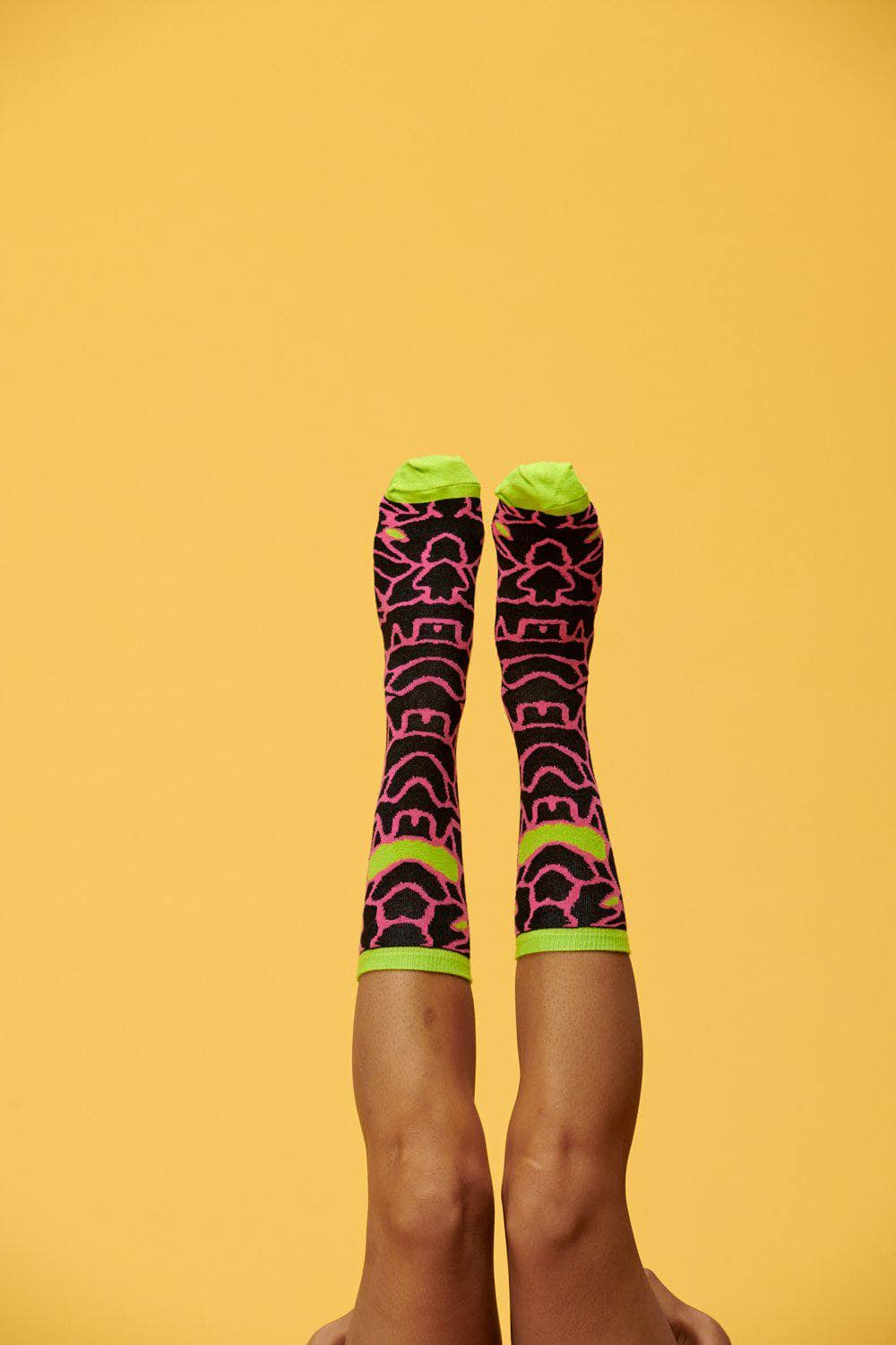 Lucy & Yak Socks Huey Black, Pink & Lime Blob Print Calf Socks