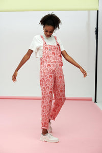 Lucy & Yak Dungarees Limited Edition Dungarees In Pink Faces Print by Bodil Jane