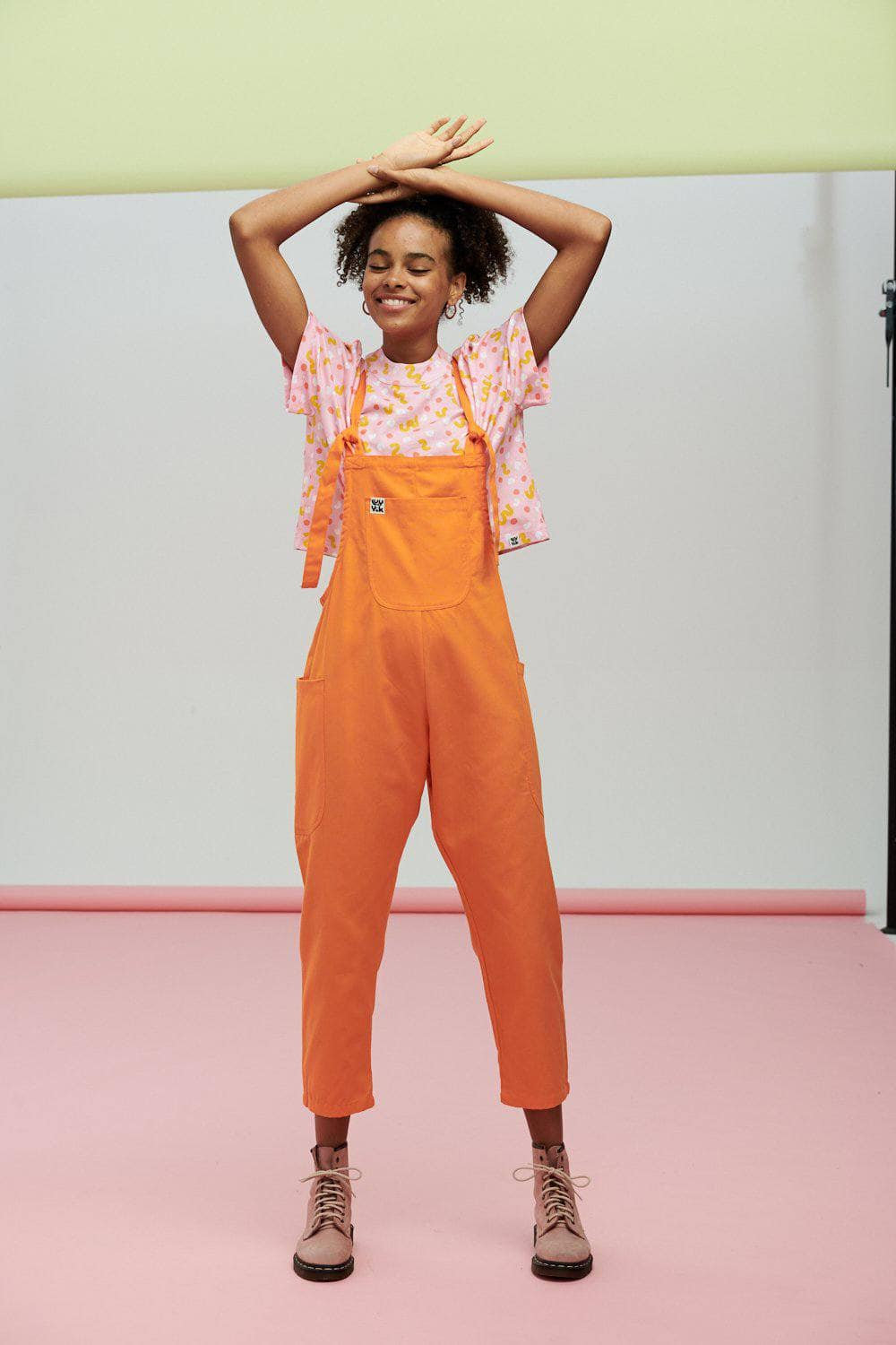 Lucy & Yak Dungarees Luna Lightweight Cotton Dungarees In Orange