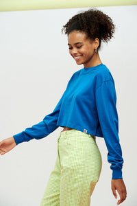 Lucy & Yak Tops Shola Long Sleeved Cropped Tee in Blue Snorkel