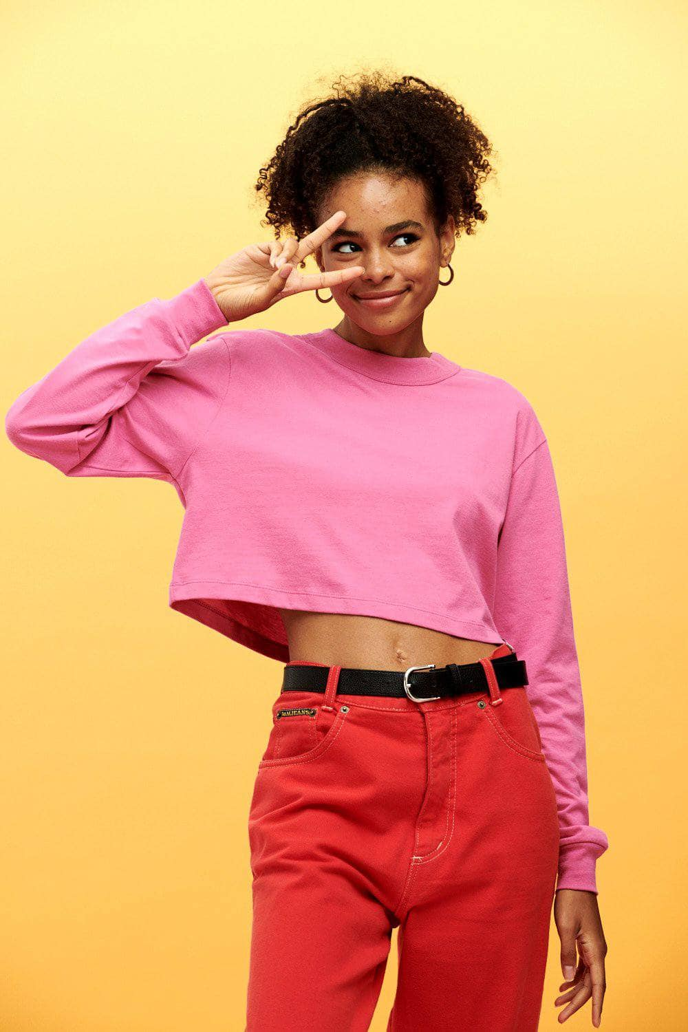 Lucy & Yak Tops Shola Cropped Long Sleeved Tee in Phlox Pink