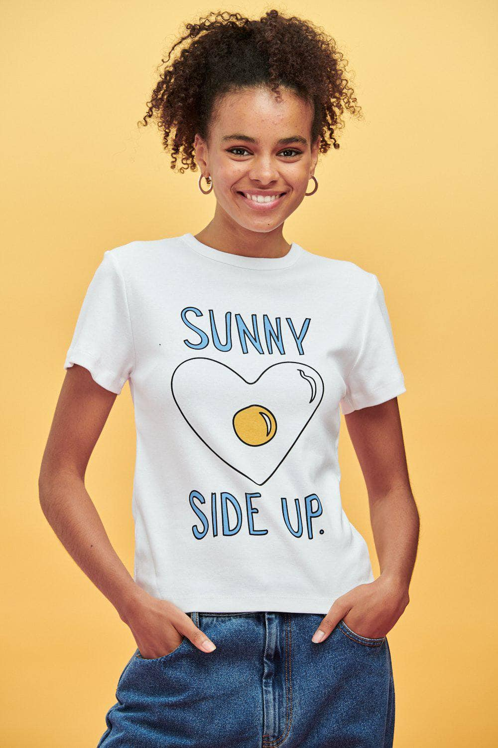 Lucy & Yak Tops Maya Little Ribbed Tee With Sunny Side Up Print