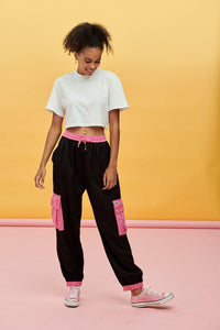 Lucy & Yak trousers Mera Tencel Cargo Pants In Black With Pink Pockets