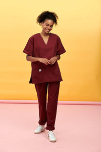 Lucy & Yak Tops Scrubs Top In Maroon (correct price needs adding)