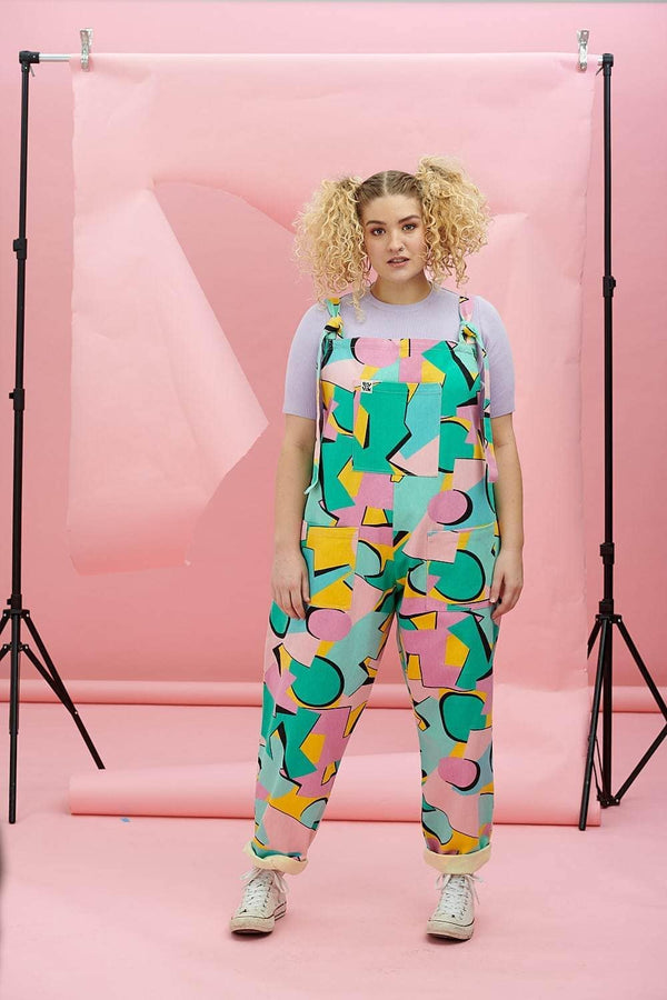 Lucy & Yak Dungarees Atlas Heavy Twill Dungarees In Kit Pastel Block Shapes Print