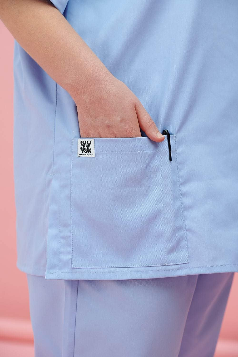 Lucy & Yak Tops Made in Britain - Scrubs Top in Sky Blue
