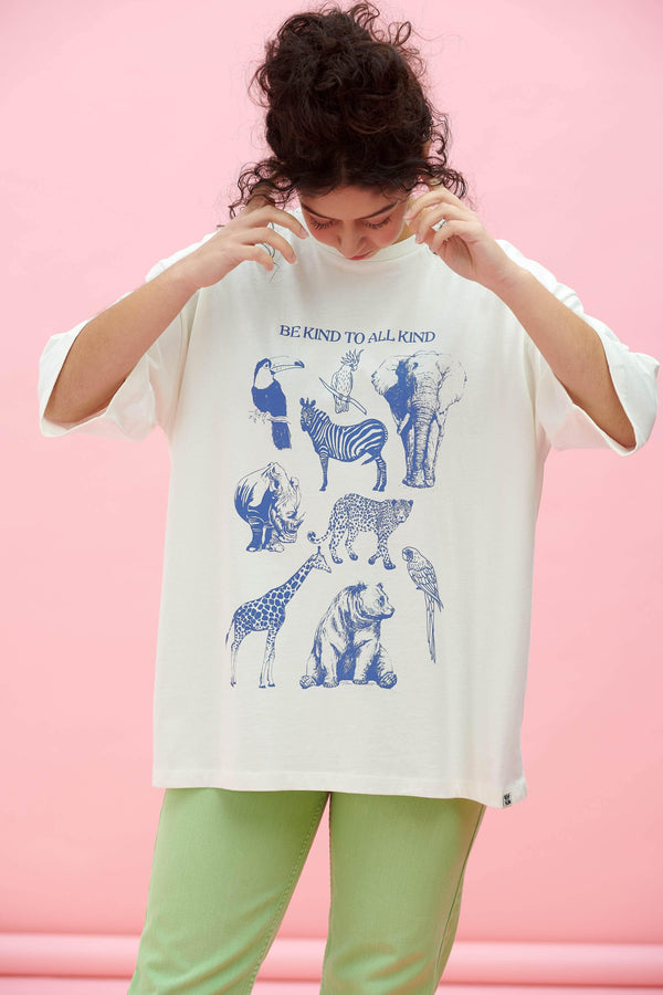 Lucy & Yak Tops 'Be Kind To All Kind' Oversized Drop Shoulder Animal Tee in White Ecru