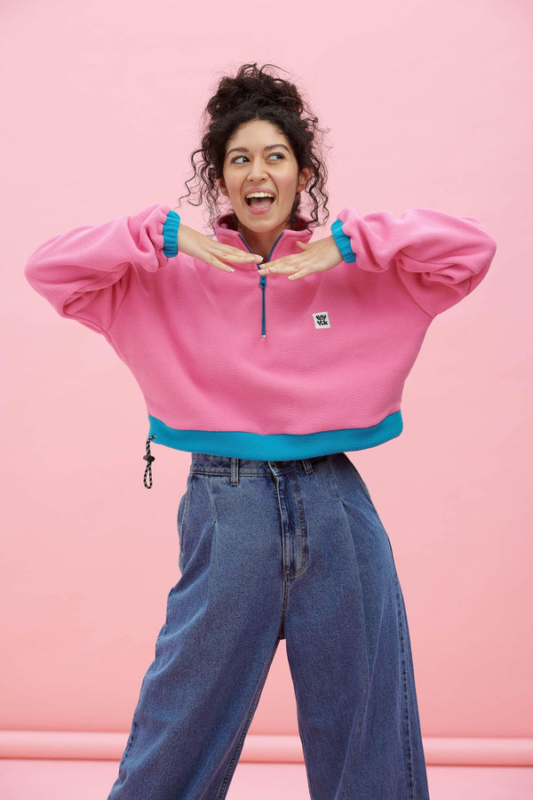 Lucy & Yak Fleeces Blake Recycled Polyester Fleece In Aurora Pink & Blue