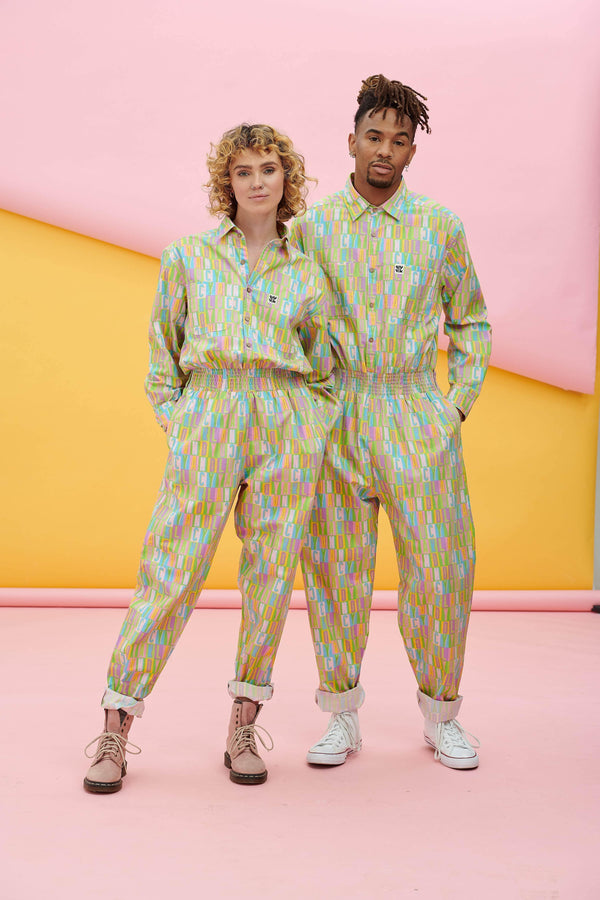 Lucy & Yak Boilersuit Frankie Organic Oversized Boilersuit with Multi L&Y Print