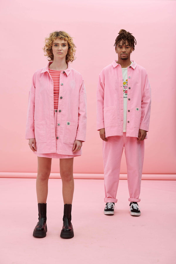 Lucy & Yak Kathy Corduroy Jacket In Prism Pink