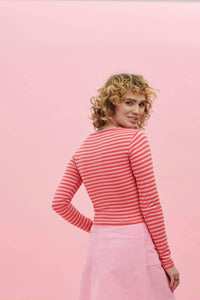 Lucy & Yak Tops Rey Organic Long Sleeved Cotton Top in Pink & Red Stripe