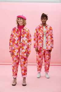 Lucy & Yak Jacket Olly Twill Jacket In Big Pink Floral