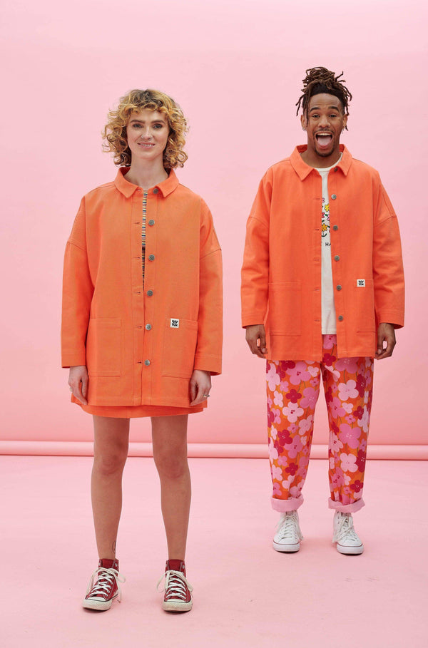 Lucy & Yak Jacket Olly Twill Jacket In Living Coral