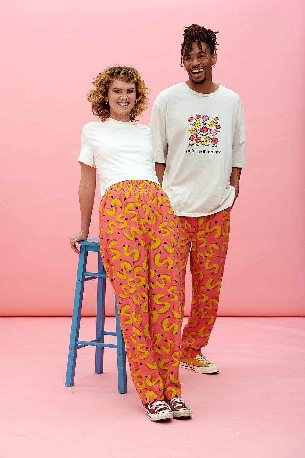 Lucy & Yak trousers Kia Trousers In Pink & Yellow Avery Print