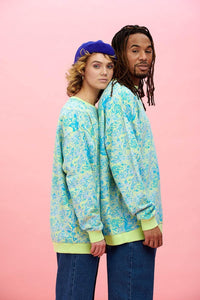 Lucy & Yak Sweatshirts Sonny Organic Cotton Sweatshirt In Blue Keely Print